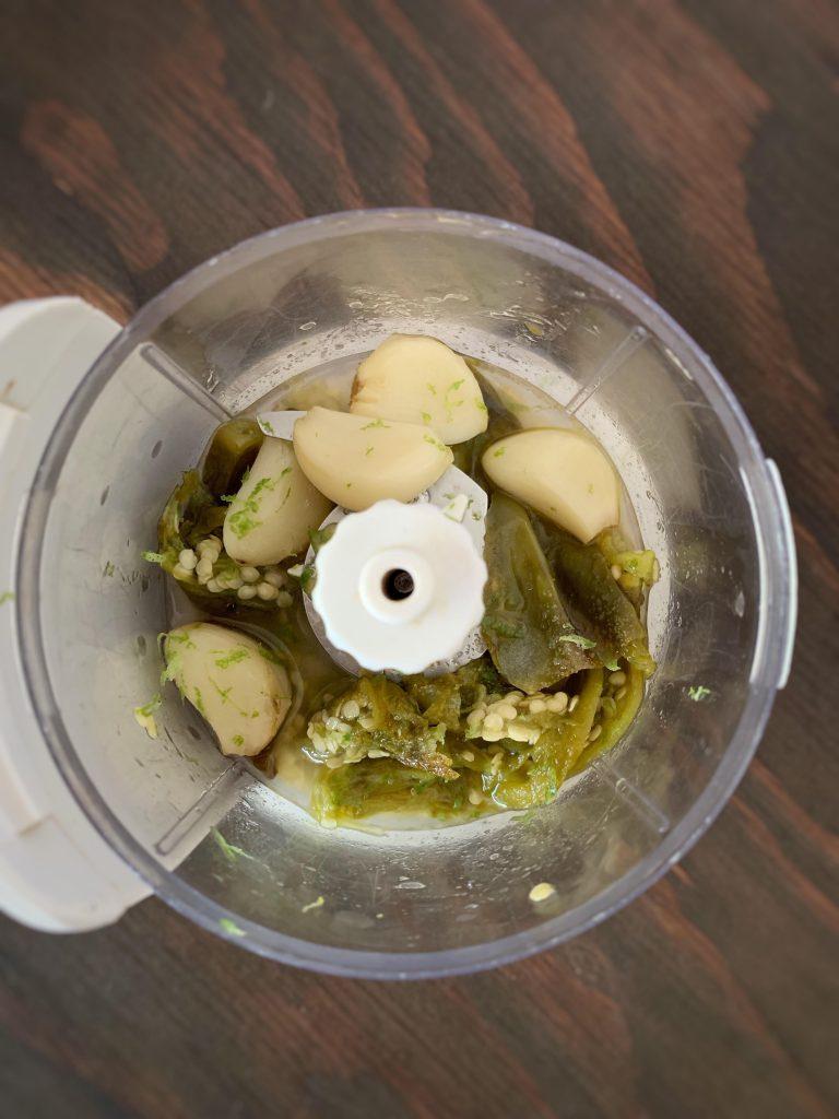 serrano peppers, roasted garlic, onions, vinegar, olive oil in a mini food processor