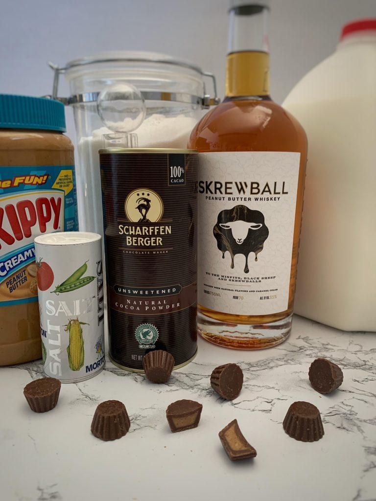 Peanut butter, sugar, salt, cacao powder, peanut butter whiskey, milk, mini peanut butter cups