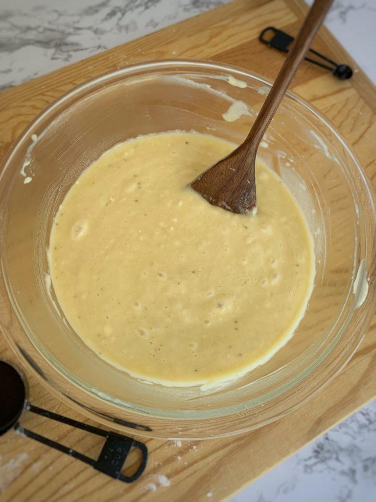 banana bread batter mixed