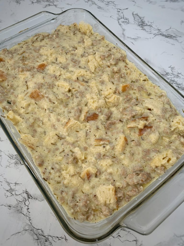 sausage and herb breakfast casserole ready to bake