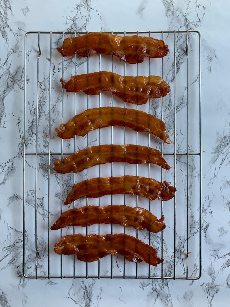Candied Maple Bacon on a cooling rack