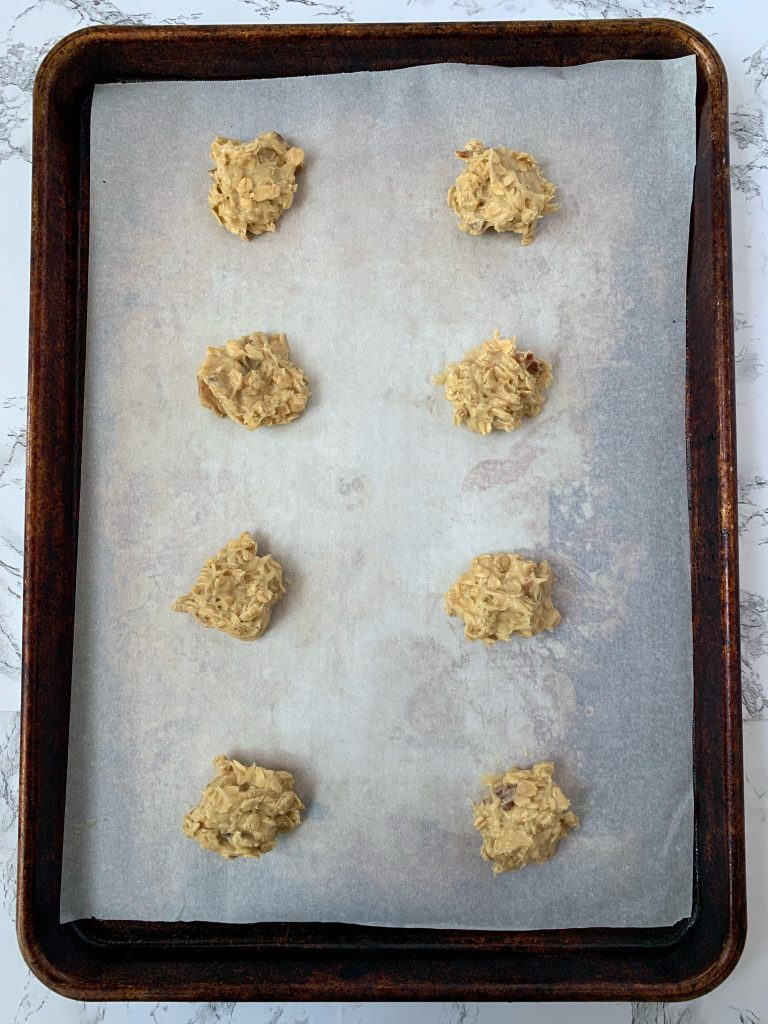 Whiskey Bacon cookies on baking sheet lined with parchment paper