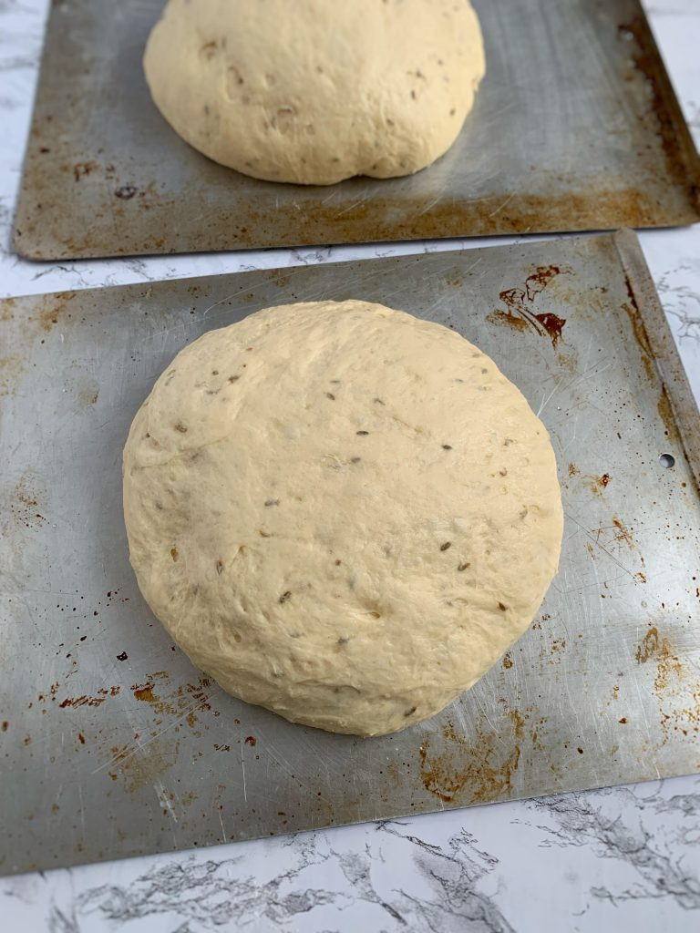 Fennel dough ball of dough risen