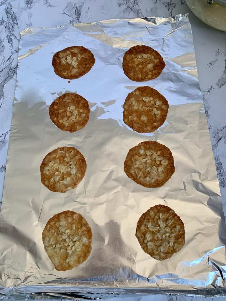 lace cookies baked on foil