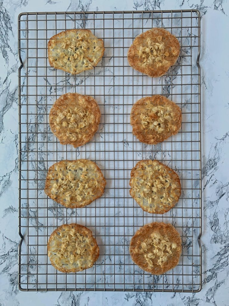 lace cookies on metal cooling rack