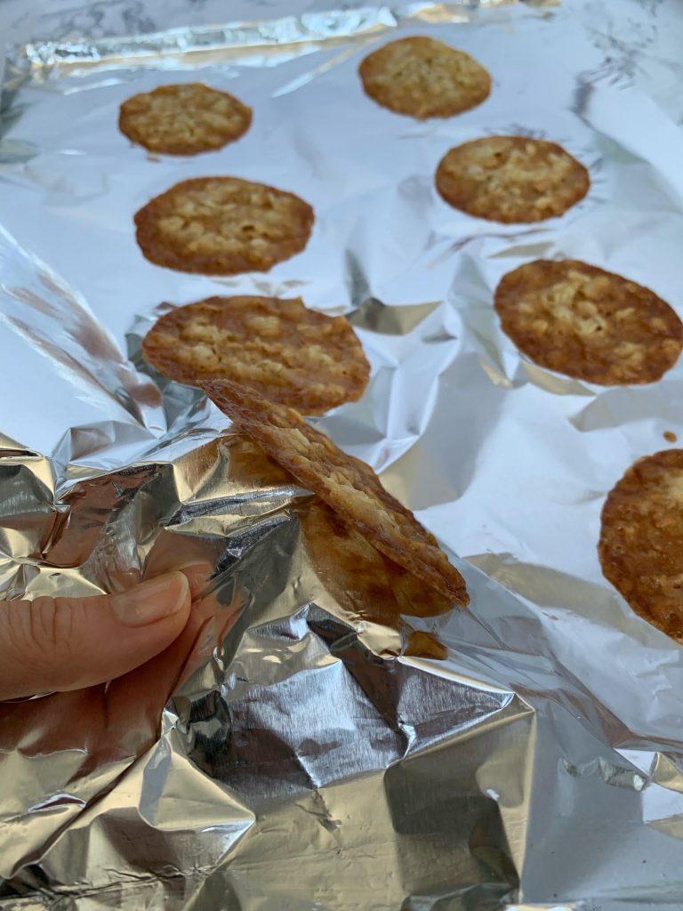 lace cookies peeling off foil